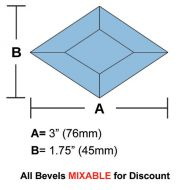 "63320-Lt. Blue Diamond Bevel 1-3/4""x 3"""