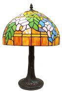 83123-Floral Leaf Pattern Tiffany Stained Glass Shade & Lamp Base