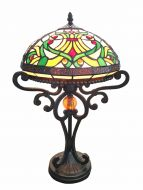 83140-Cordeua Pattern Tiffany Stained Glass Shade & Lamp Base